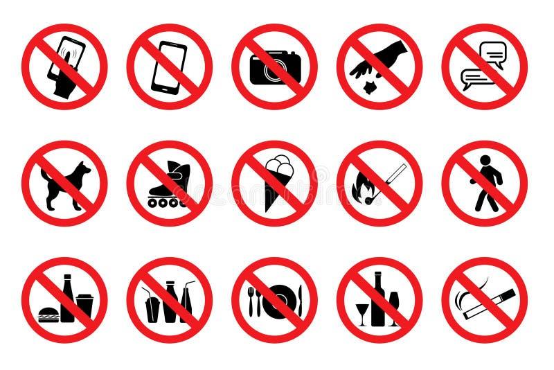 Fije las muestras prohibidas Iconos rojos Vector stock de ilustración