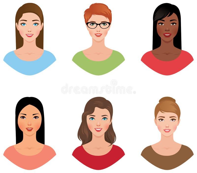 Fije a las mujeres de los avatares de diversas nacionalidades con diversos colores stock de ilustración