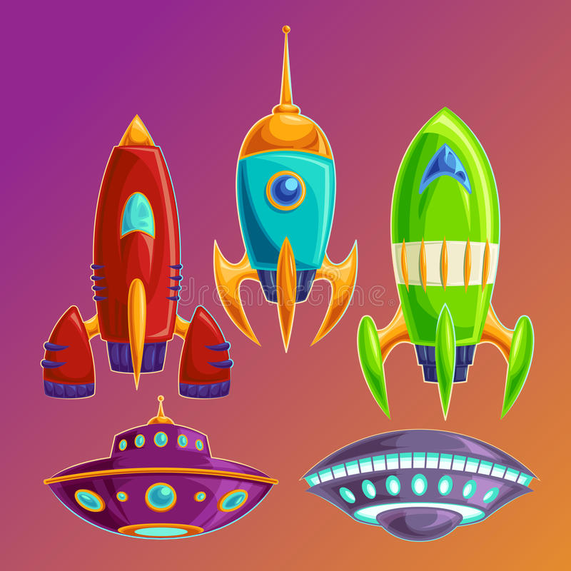 Fije las naves espaciales graciosamente y UFOs del vector libre illustration