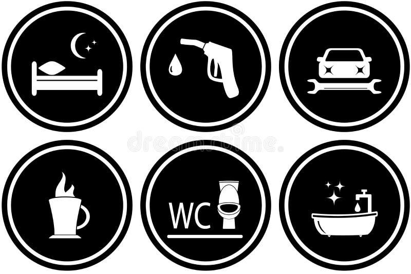 Fije las señales de tráfico para el hotel o la gasolinera stock de ilustración