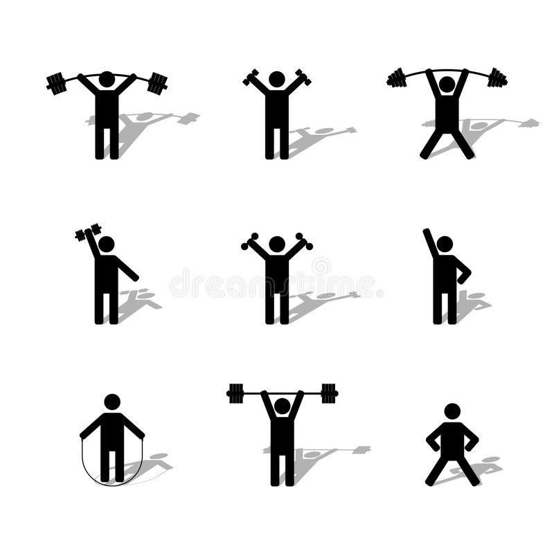 Fije las siluetas del atleta, ejemplo del vector ilustración del vector