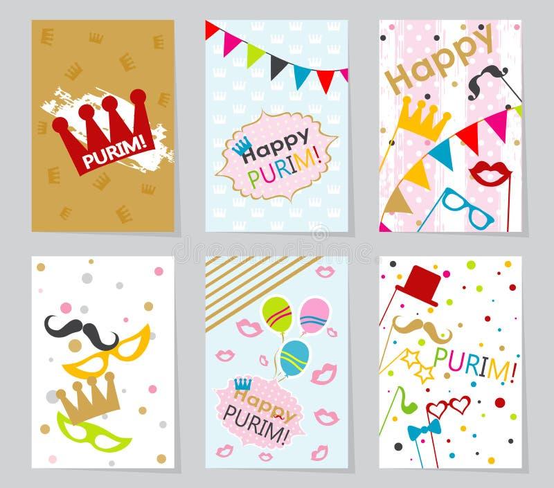Fije las tarjetas de felicitación judías de Purim del día de fiesta de la plantilla ilustración del vector