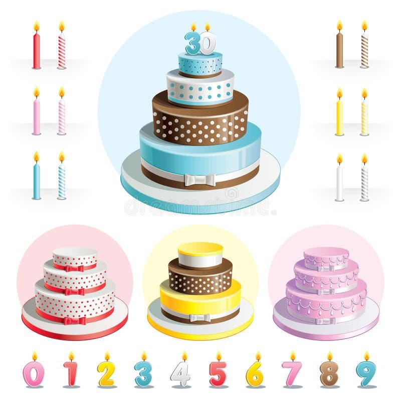 Fije las tortas para el aniversario stock de ilustración