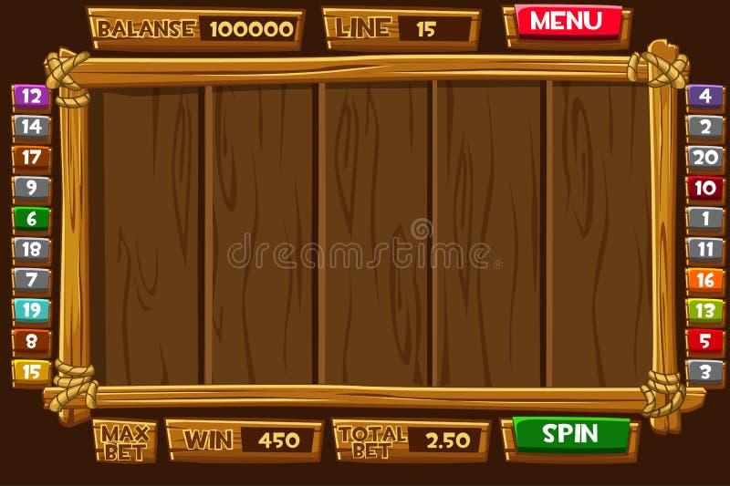 Fije los activos, el interfaz y los botones de madera de la historieta para las RANURAS del juego de Ui stock de ilustración