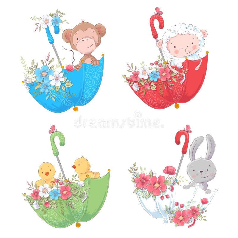 Fije los animales lindos mono de la historieta, los pollos de las ovejas y el conejito en umbels con las flores para el ejemplo d ilustración del vector