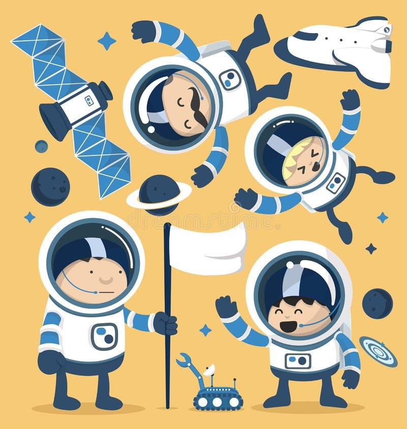 Fije los astronautas del carácter en espacio y a Rocket Ships Robots, planeta ilustración del vector