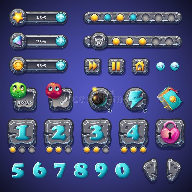 Fije los botones de piedra, las barras de progreso, los objetos de las barras, las monedas, los cristales, los iconos, los aument ilustración del vector