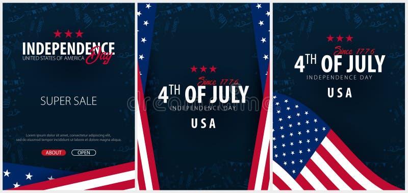 Fije los carteles del cuarto de julio el 4 de julio Día de la Independencia de los E.E.U.U. Ilustración del vector stock de ilustración