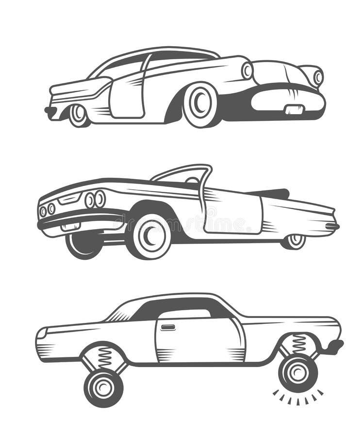 Fije los coches viejos del vintage del vector stock de ilustración
