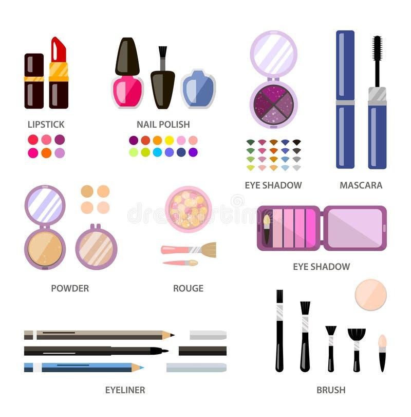 Fije los cosméticos de la mujer, planos, maquillaje Tienda de la belleza, tienda ilustración del vector