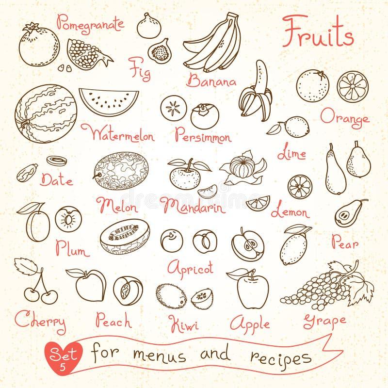 Fije los dibujos de la fruta para los menús del diseño, recetas libre illustration