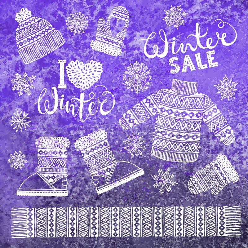 Fije los dibujos hizo punto la ropa y el calzado de lana Suéter, sombrero, manopla, bota, bufanda con los modelos, copos de nieve libre illustration