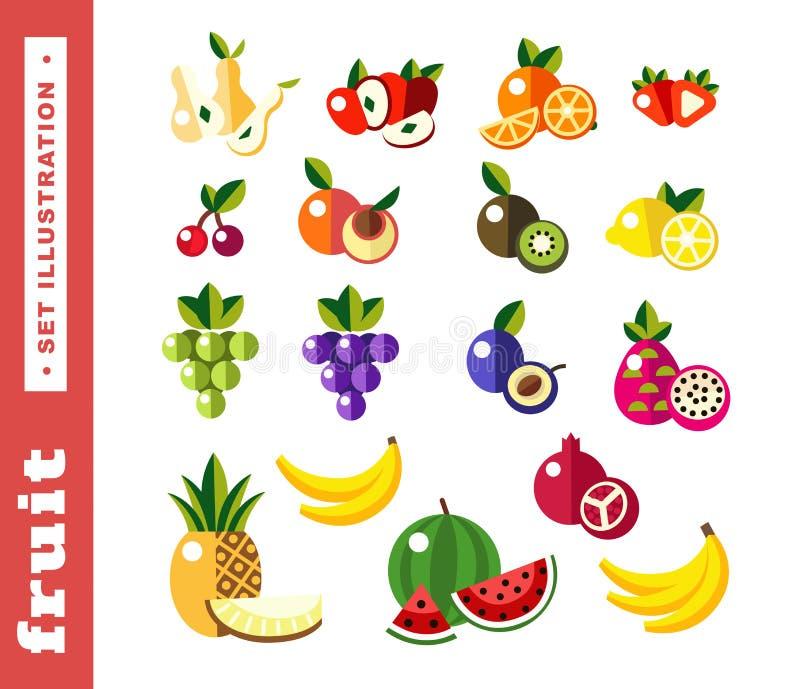 Fije los ejemplos de la fruta fresca stock de ilustración