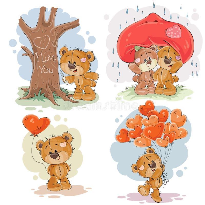 Fije los ejemplos del clip art del vector de los osos de peluche enamorados libre illustration