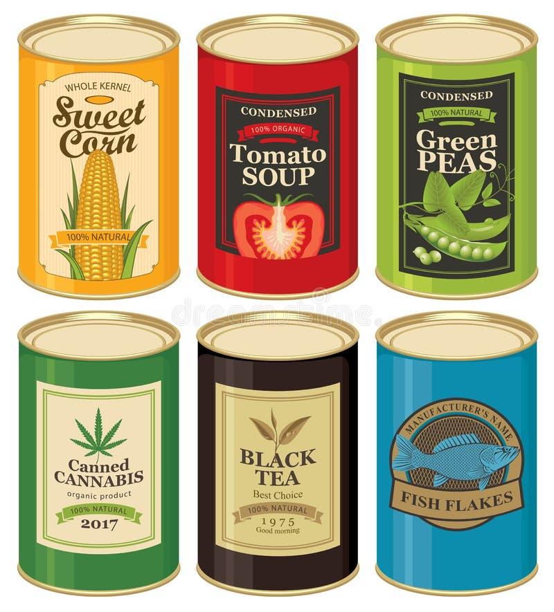 Fije los ejemplos del vector del las latas con las etiquetas stock de ilustración