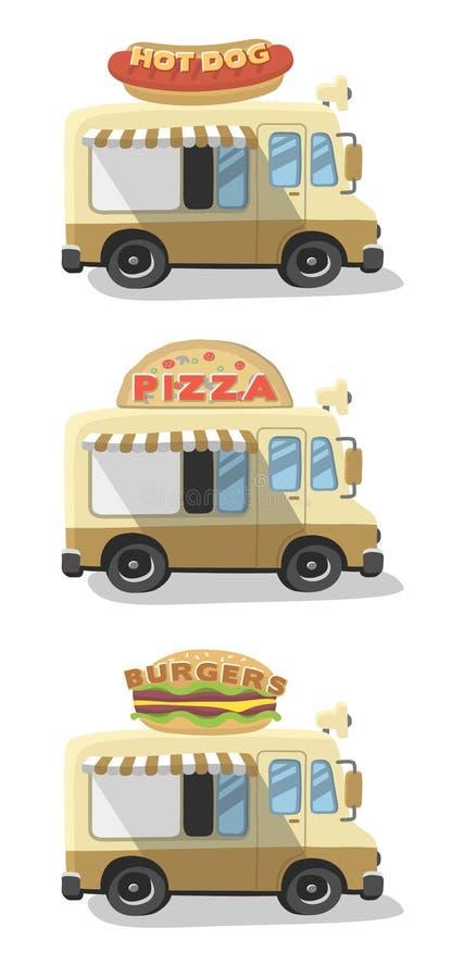 Fije los ejemplos que dibujan el camión de la comida libre illustration