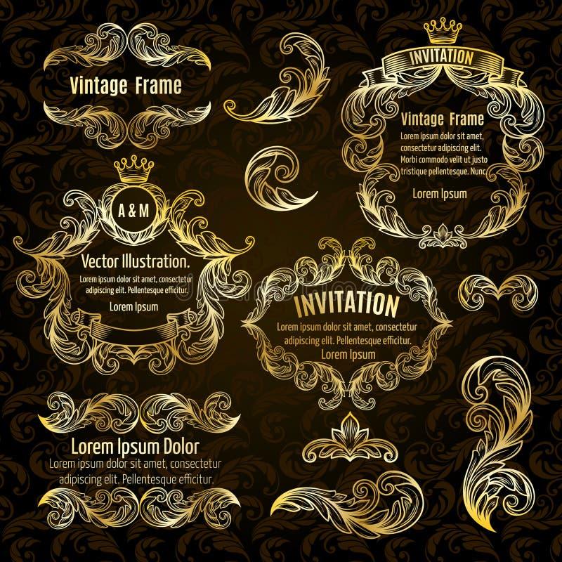Fije los elementos del diseño del marco y del vintage del oro libre illustration