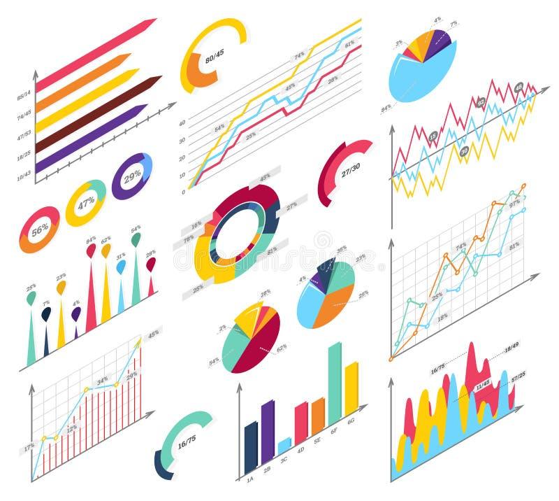Fije los elementos del infographics isométrico Barras de la información, graphycs libre illustration