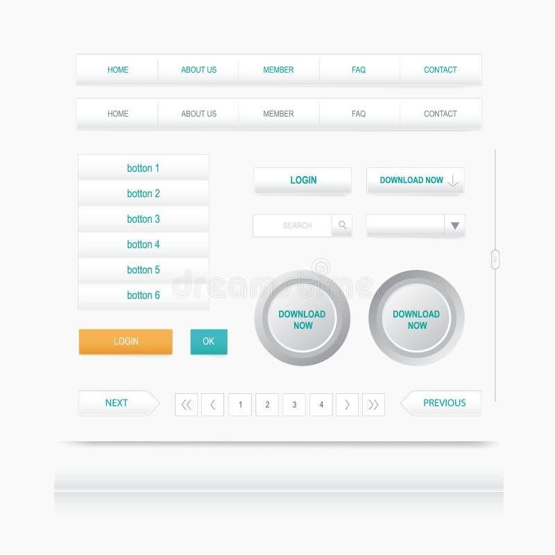 Fije los elementos del Web botón del menú de la navegación de sitios ilustración del vector