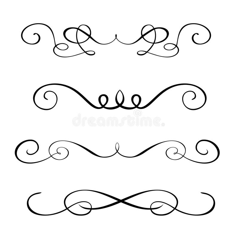 Fije los elementos dibujados mano de la caligrafía del flourish Ejemplo del vector en un fondo blanco stock de ilustración