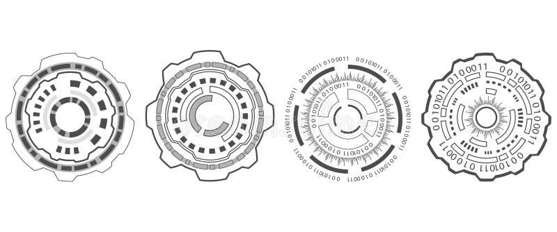 Fije los elementos Hud Design para el interfaz futurista, elementos de Infographic stock de ilustración