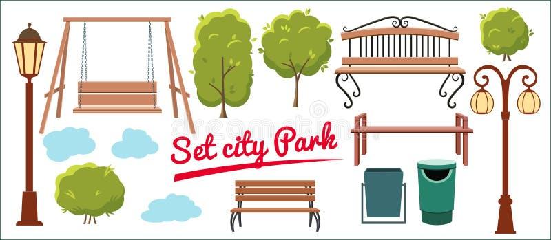 Fije los elementos para el parque de la ciudad Árbol, bote de basura, linterna, balanceo, y bancos en estilo plano libre illustration