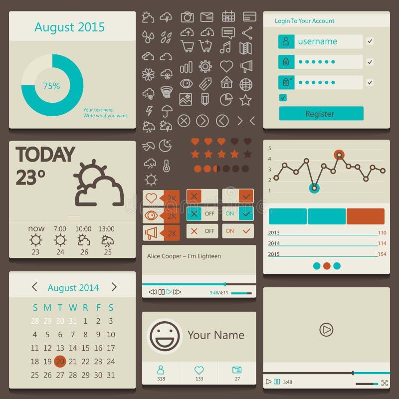 Fije los elementos utilizados para la interfaz de usuario libre illustration