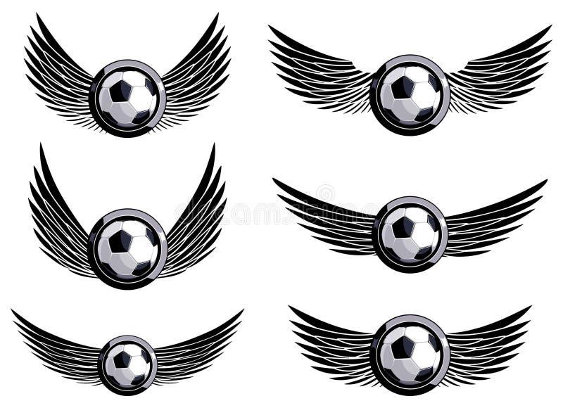 Fije los emblemas del fútbol fotografía de archivo libre de regalías