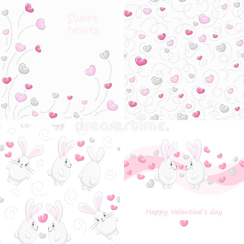 Fije los fondos de la tarjeta del día de San Valentín ilustración del vector