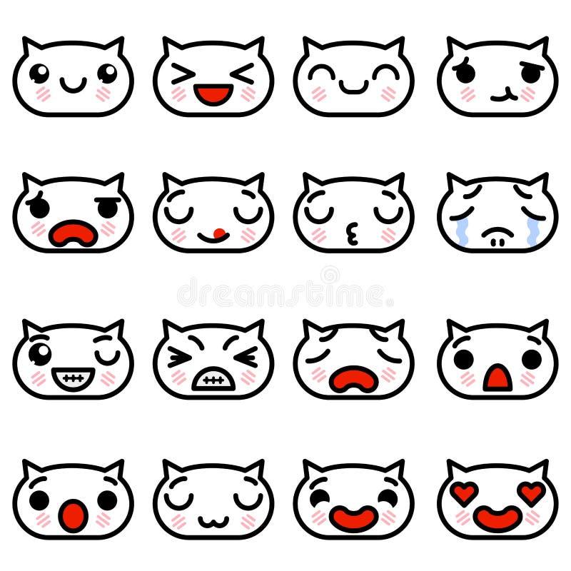 Fije los gatitos de Emoji de los iconos con diverso ejemplo del vector de las emociones libre illustration