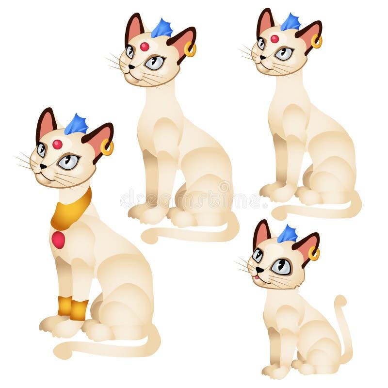 Fije los gatos animados de la fantasía con ornamentos de oro y un penacho azul aislado en el fondo blanco Ilustración del vector ilustración del vector