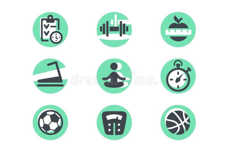 Fije los iconos con dieta, la bola, el peso y el planeamiento ilustración del vector