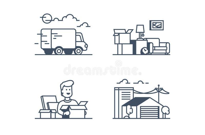 Fije los iconos con la mudanza, hombre divertido, almacenamiento, almacén ilustración del vector