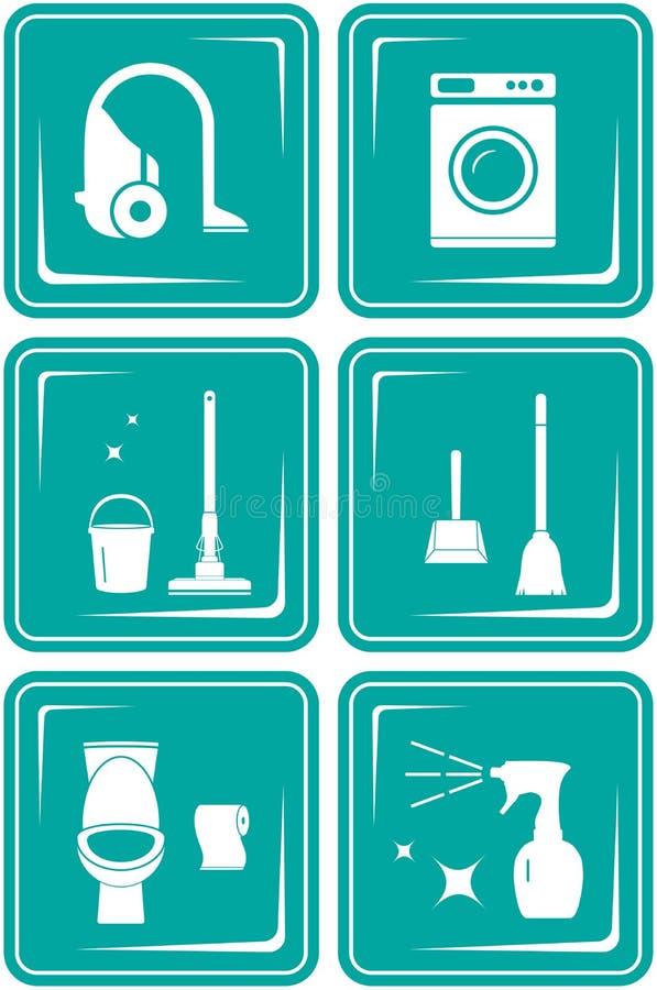 Fije los iconos con los objetos para limpiar libre illustration
