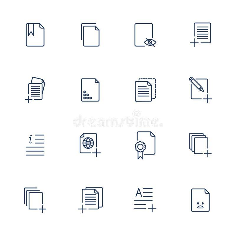 Fije los iconos de documento, iconos de papel ilustración del vector