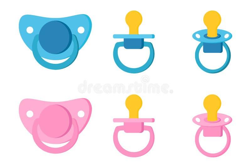 Fije los iconos de la entrerrosca simulada del cuidado del beb? del pacificador para el ni?o reci?n nacido libre illustration