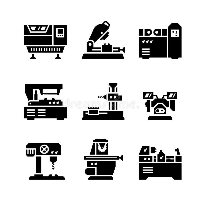 Fije los iconos de la máquina-herramienta stock de ilustración