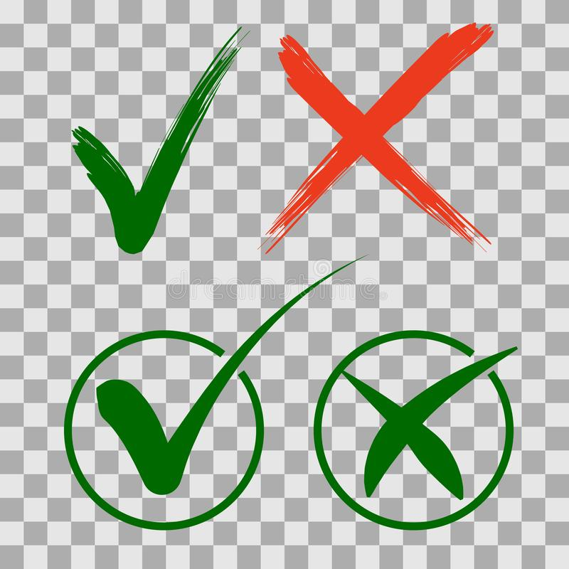 Fije los iconos de la marca de verificación Marcas de cotejo de la señal verde y de la Cruz Roja en dos variantes stock de ilustración