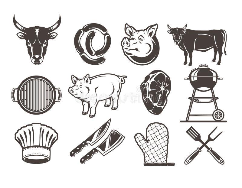 Fije los iconos de la parrilla y de la barbacoa ilustración del vector