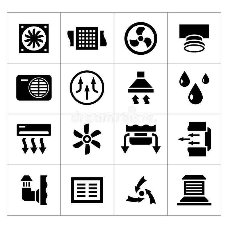 Fije los iconos de la ventilación y del condicionamiento stock de ilustración