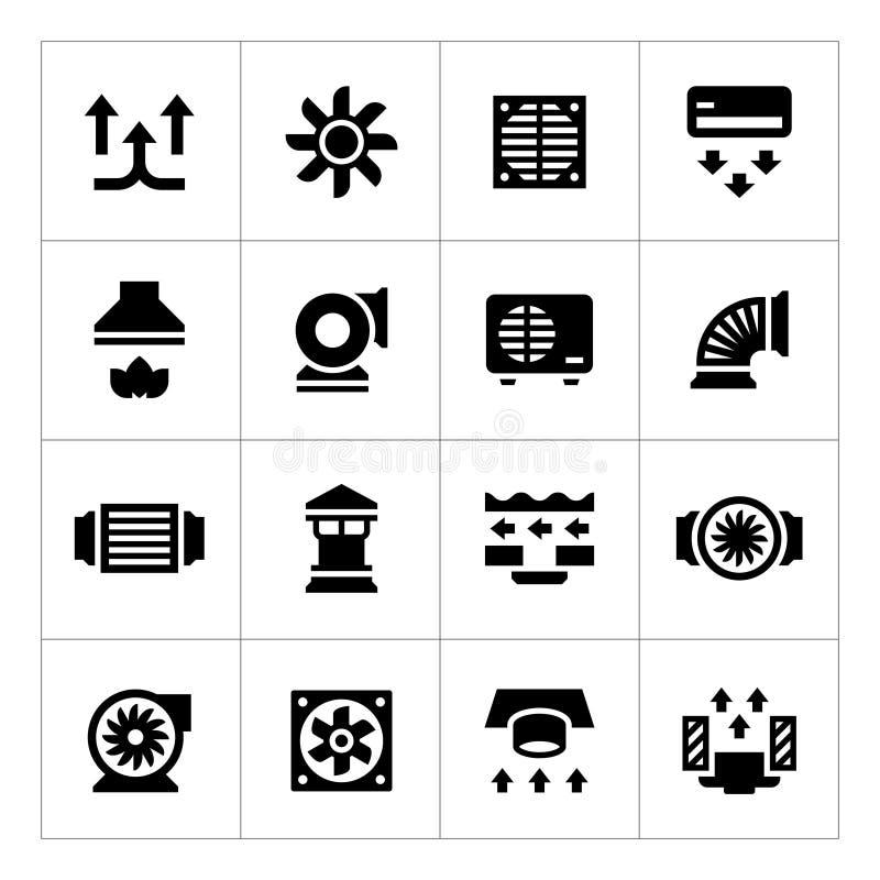 Fije los iconos de la ventilación y del condicionamiento ilustración del vector