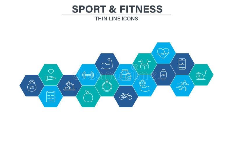 Fije los iconos de la web del deporte y de la aptitud en la línea estilo F?tbol, nutrici?n, entrenamiento, trabajo en equipo Ilus ilustración del vector