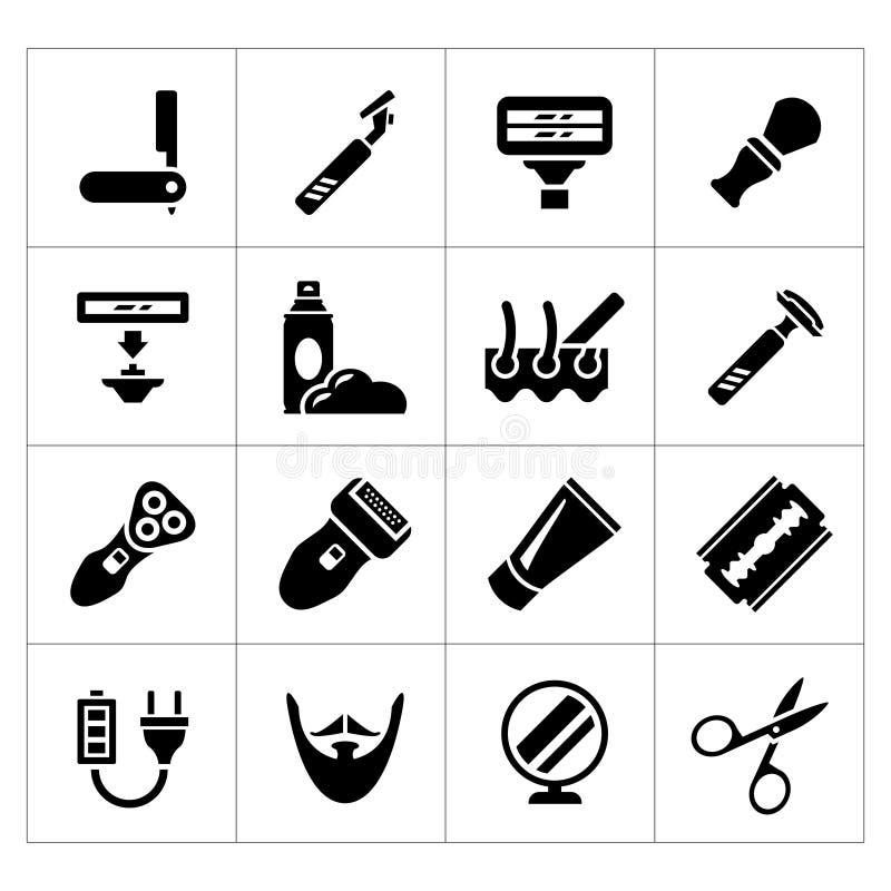 Fije los iconos del afeitado, del equipo del peluquero y de los accesorios ilustración del vector