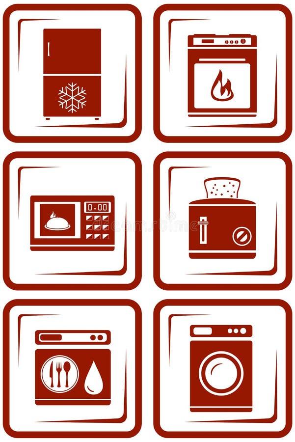 Fije los iconos del aparato electrodoméstico libre illustration
