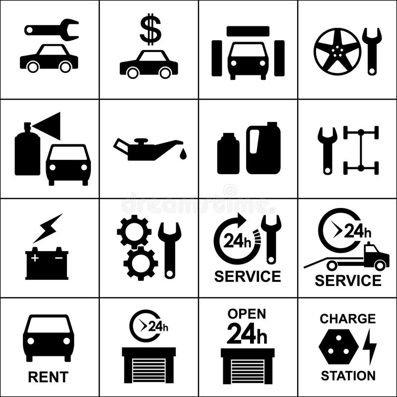 Fije los iconos del auto, de las piezas del coche, de la reparación y del servicio stock de ilustración