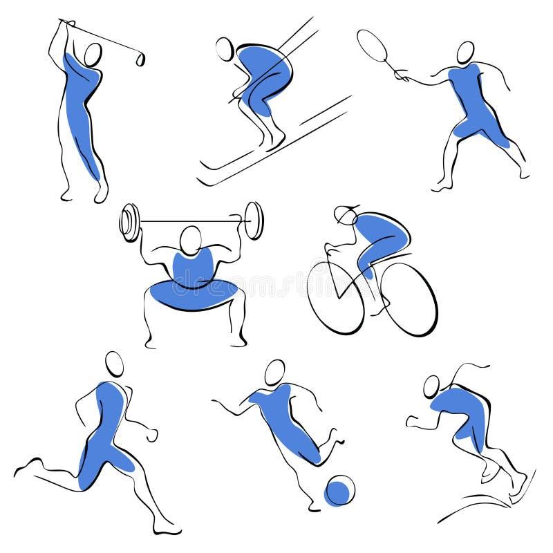 Fije los iconos del deporte. hombre. libre illustration