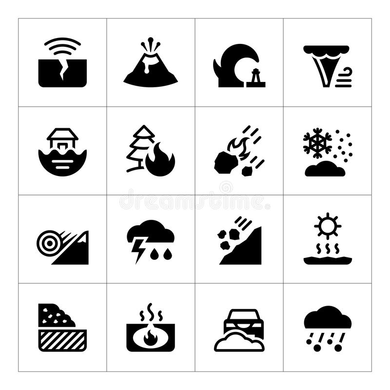 Fije los iconos del desastre natural ilustración del vector