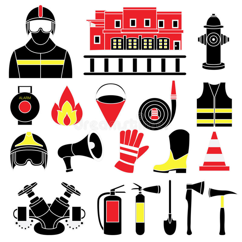 Fije los iconos del ejemplo del equipo contraincendios stock de ilustración