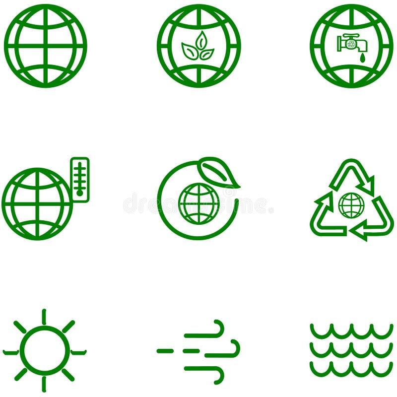 Fije los iconos del esquema relacionado del globo y de la tierra stock de ilustración