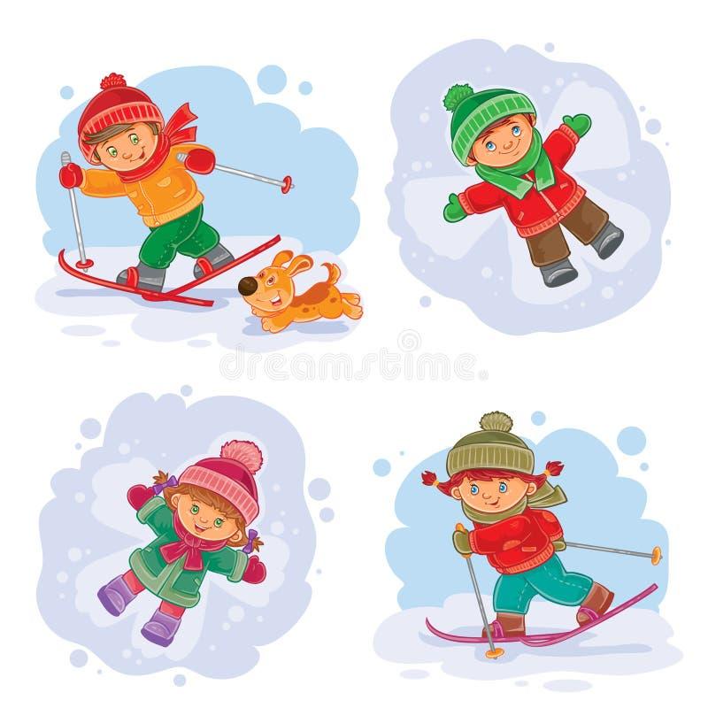Fije los iconos del invierno del vector con los pequeños niños ilustración del vector